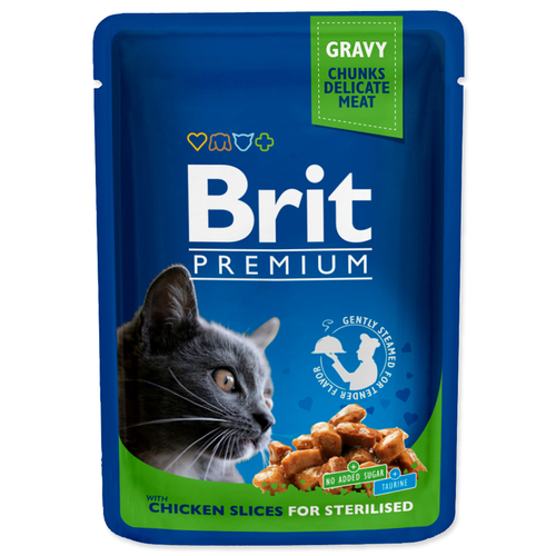 Kapsička BRIT Premium cat chicken slices for sterilised (100g)