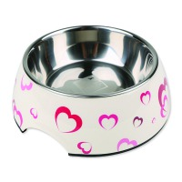 Miska DOG FANTASY nerezová kulatá hearts 27 cm (1400ml)