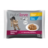 Nutrilove cat pouch NMP, gravy 2× salmon + 2× chicken 4×85g