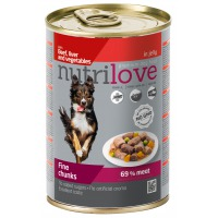 Nutrilove dog chunks, jelly BEEF LIVER VEGIE 415g