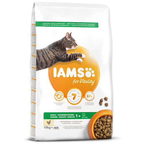 IAMS for Vitality Adult Cat Food with Fresh Chicken (10kg)