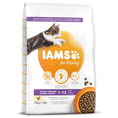 IAMS for Vitality Kitten Food with Fresh Chicken (10kg)