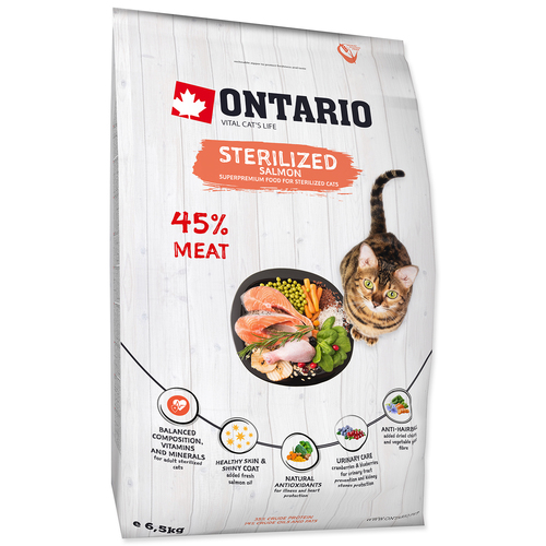 ONTARIO Cat Sterilised Salmon (6,5kg)